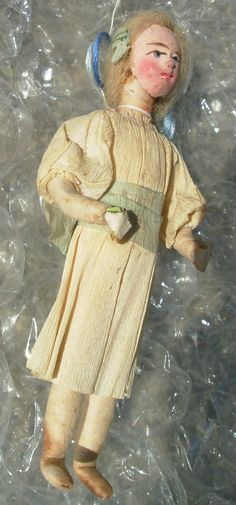 C 1900 Germany Spun Cotton Christmas Ornament Young Girl Bow Crepe Paper Dress | eBay