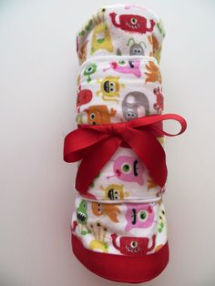 Monsters, ribbon edged flannel receiving blanket & burp cloth Set - Ready To Ship on Etsy, $25.00