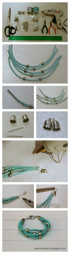 DIY: pulsera beatrix / beatrix bracelet/used hot glue for cord cap Diy Leather Bracelet, Leather Jewelry, Wire Jewelry, Beaded Jewelry, Jewelery, Beaded Bracelets, Handmade Jewellery, Diy Bracelet, Bracelet Tutorial