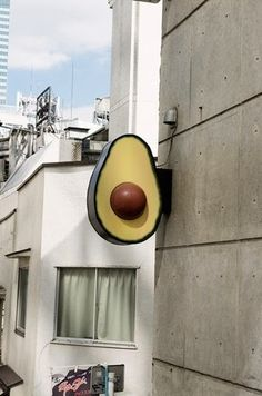 I would actually like an avocado this large. :) Ok, perhaps the light. *Need to create an exterior design board. Wayfinding Signage, Signage Design, Shop Signage, Retail Signage, Environmental Graphics, Store Signs, Visual Merchandising, Architecture, Design Inspiration