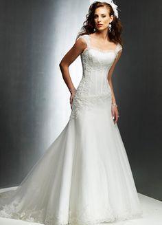 Elegant Spaghetti A-line Satin Lace Wedding Gown