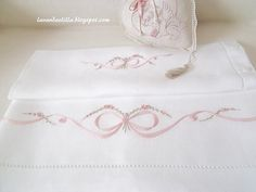 Hey, I found this really awesome Etsy listing at… Silk Ribbon Embroidery, Hand Embroidery Patterns, Machine Embroidery, Embroidery Designs, Baby Sheets, Baby Bedding Sets, Baby Quiet Book, Heirloom Sewing, Embroidery Fashion
