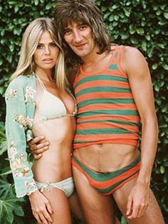 Rod forgot to tuck his fur back in. (Rod Stewart and Britt Ekland, Britt Ekland, Rod Stewart, Bikinis, Swimwear, Kylie, Celebrity Bikini, New Wave, Poses, Vintage Photos