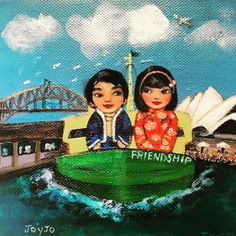 'Join hearts for diversity' with Mei+Kenji and friends. Kokeshis travelling the world on cultural and romantic adventures Romantic, Culture, Adventure, Art Prints, Creative, Artwork, Friendship, Character, Design