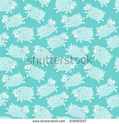 Seamless pattern with cute sheep. Vector illustration. - stock vector