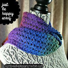 Just Be Happy Scarf | AllFreeCrochet.com