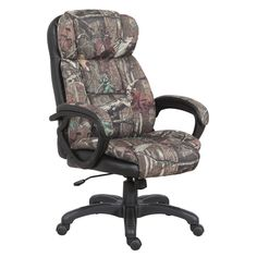 This outdoors-themed office chair is thickly padded and features a cool mossy oak camouflage pattern, a sturdy five star base and an adustable height function. This executive chair is perfect for the man who loves being outdoors.