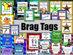 Great Brag Tags for class motivation! Lot's of fun characters.