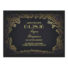 Yellow Save the Date Wedding Invitations old trees avenue vintage save the date postcards