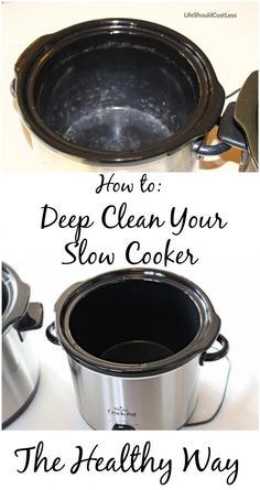 How to deep clean your slow cooker, the healthy way! No chemicals here and your crock looks brand new again when you are done! {lifeshouldcostless.com}