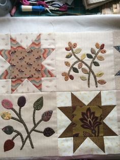 I made all the star blocks last year. Then I couldn't decide whether to applique with cotton or wool! Decision made - now on with the quilt!