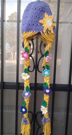 Rapunzel Character Hat Deluxe -Extra Long Braids with Flowers and Leaves...for my girl, Alexa