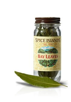 BAY LEAVES  An essential ingredient in Mediterranean dishes, bay leaves add a sharp, warm flavor to soups, sauces and marinades. They release their flavor slowly, so add them early in the cooking process. And be sure to remove them before serving.    We source our Spice Islands® bay leaves from California, known for strong bay leaves with a more concentrated aroma and potent flavor. They're so potent, in fact, that we recommend using 1/3 of a leaf in recipes that call for a whole leaf.