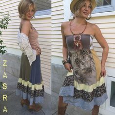Gypsy skirt tube dress size S/M eco dress patchwork skirt by zasra