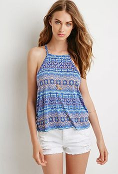 Abstract Tile Print Halter Top   Forever 21 - 2000079657