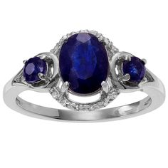 1 1/5 CT. T.W. Oval-Cut Sapphire Three-Stone Prong Set Ring in Sterling Silver - Blue