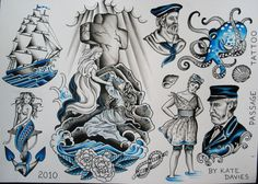 Vintage Tattoo Art | Nautical tattoo Flash/rock of ages/ship/mermaid by K8tred on Etsy