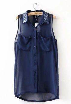 Women Summer Euro Style Asymmetrical Sequins Sleeveless Navy Chiffon Blouse S/M/L@WH0011n
