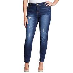 Mynt 1792 Plus Plus Distressed Skinny Jeans ($148) ❤ liked on Polyvore