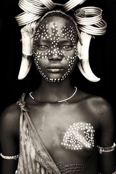 Africa | People | Mursi woman from mago.  Ethiopia