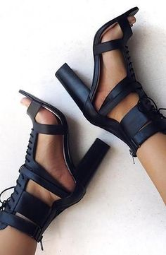 Lace UP Ankle Wraps Open Toe High Chunky Heels Sandals – MeetYoursFashion Crazy Shoes, Me Too Shoes, Mode Shoes, Sandals Outfit, Strappy Sandals, Nike Shox, Black High Heels, Beautiful Shoes, Beautiful Live