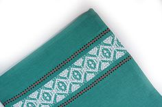 Green Cotton Towel / Vintage Embroidery dishtowel / by EUvintage, $12.00