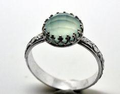 Sea Green Chalcedony Ring, Handmade Engagement Ring, Chalcedony Wedding Ring, Handforged Sterling Silver Ring