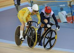 Victoria Pendleton is shunted by Anna Meares of Australia during the first leg of the women's sprint. Pendleton was later stripped of victory and relegated in that leg for crossing the red sprinter's line. Pendleton ultimately lost 2-0 and won the silver medal