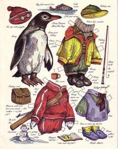 Bonecas de Papel: Animais Fantásticos  penguin paperdoll / paper doll with winter clothes
