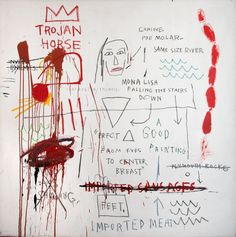 """""""Thesis,"""" 1983. Acylic and oilstick on canvas. Last displayed in the U.S. in 1989. Private collection. © The Estate of Jean-Michel Basquiat / Licensed by Artestar, New York."""