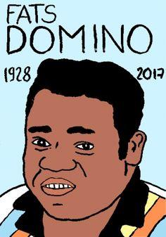 mort de Fats Domino, dessin, portrait, laurent jacquy,répertoire des macchabées célèbres,mort d'homme,