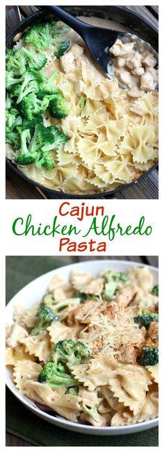 Cajun Chicken Alfredo Pasta makes the easiest 30-minute weeknight meal! Recipe on TastesBetterFromScratch.com