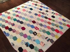 Vintage Handmade Quilt Multi-colored Pink by eddysmercantile
