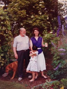 Love this one. Morag, Dad, Jade and Helen in the garden I made at 9206 Applecross Cr., in Surrey, BC.