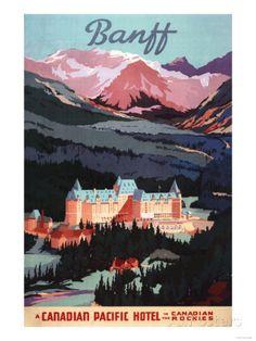 Banff, Alberta, Canada - Overview of the Banff Springs Hotel Poster Posters tekijänä Lantern Press AllPosters.fi-sivustossa