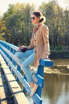 Camel coat and chucks...a fave outfit of mine!  :)