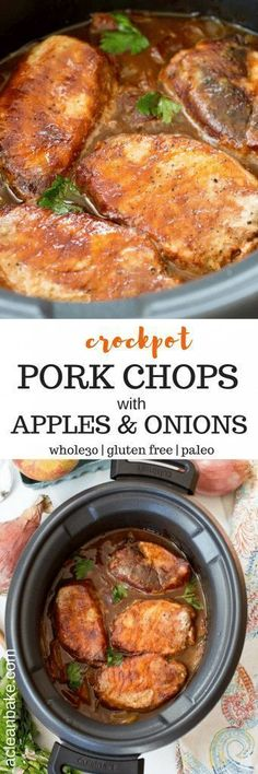 Crockpot BBQ Pork Chops with Apples and Onions. This recipe is mostly hands-off … Crockpot BBQ Pork Chops with Apples and Onions. This recipe is mostly hands-off cooking time and is healthy too! Perfect for weeknight dinners. Pork Recipes, Slow Cooker Recipes, Paleo Recipes, Crockpot Recipes, Cooking Recipes, Healthy Cooking, Healthy Kids, Healthy Food, Barbecue Pork Chops