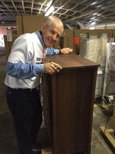 Solid wood furniture, Made in America, the happiest customers - these are a few of the things that make Mattress Mack as happy as you see him here! | Houston, TX | Gallery Furniture |