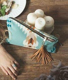 The Coco Portfolio - pretty Pendleton wool + a leather tassel zipper pull <3