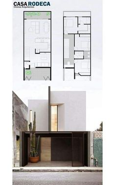 New ideas for tiny house design minimalist Narrow House Designs, Narrow House Plans, Small House Design, Modern House Plans, House Layout Plans, House Layouts, Minimal House Design, Architectural House Plans, Architectural Salvage