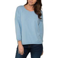 Bench Powder Blue Glorify Sweatshirt (30 NZD) ❤ liked on Polyvore featuring tops, hoodies, sweatshirts, scoopneck top, blue sweatshirt, bench top, scoop neck sweatshirt and blue top