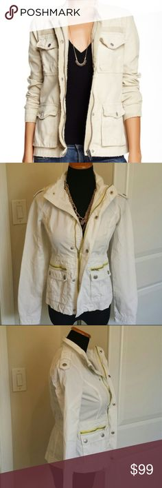 NWOT Free People Military Style Lightweight Jacket brand new without tags Free People Military Style Lightweight Jacket. Super unique military / platoon / army style jacket from free people. Tagged a size 2 but fits up to a size M- mannequin is a true M and it zips up completely even over the bust. No rips or stains. Slight signs of wear. Feel free to make an offer! Free People Jackets & Coats