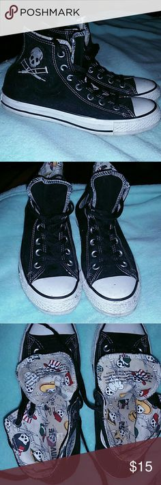 Official Jackass Converse High Top Chuck Taylors Used, has scuff marks on white part of shoe, see images, will post more pics if you're interested. Has a cute Jackass print pattern on inside of shoe, has Jackass logo on both shoes on outer part of foot, inside part says the Chuck Taylor logo like other converse sneakers. Converse Shoes Sneakers