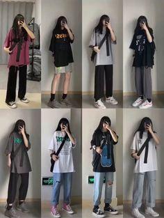 Korean Girl Fashion, Korean Fashion Trends, Korean Street Fashion, Ulzzang Fashion, Boyish Outfits, Cute Casual Outfits, Retro Outfits, Kpop Fashion Outfits, Tomboy Fashion