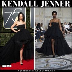 Kendall Jenner in black strapless gown
