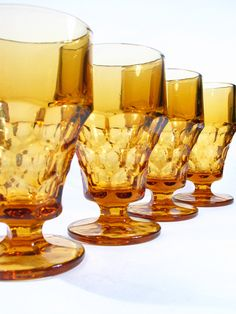 Amber Glassware Set Water Goblet Tumbler Footed by a2ndlife, $25.00