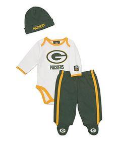 Infant Green Bay Packers Brown Mini Football Creeper