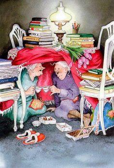 Wenn ich alt bin, will ich Menschen an meiner Seite haben, deren Verstand junggeblieben ist Kaffeeklatsch Norman Rockwell, Old Lady Humor, Photo Mosaic, Best Mysteries, Lucky Ladies, Whimsical Art, Love Book, Getting Old, Old Women