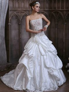 $452.59 Voluminous Princess Taffeta Strapless Court Train Lace Wedding Dresses with Transparent Bodice #Cheap #wedding #dresses #