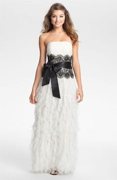 Jessica McClintock Ruffled Strapless Tulle Gown available at Nordstrom